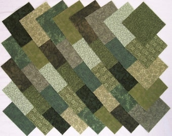 GREEN Prints 100% cotton 4 inch Quilt Block Fabric Squares (#A/9C)