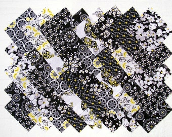 Black, Yellow & Gray 100% cotton prewashed 4 inch Quilt Block Fabric Squares (#E/98B)