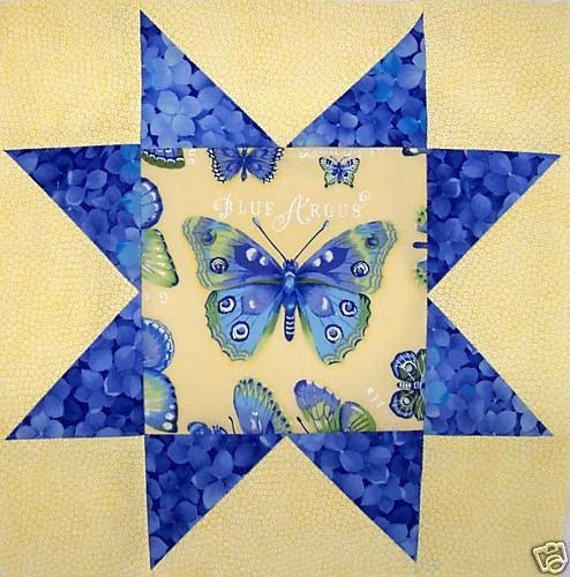 BLUE STAR BUTTERFLY 12 in x 12 in Fabric Quilt Top Block (stk203A)
