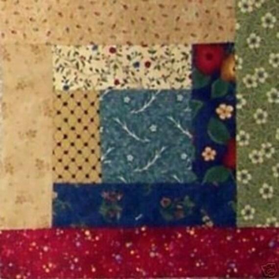 Scrappy Log Cabin 100% cotton Prewashed Handmade Quilt Block Kit Makes 16 blocks (#stk118)