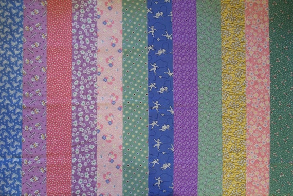 1930's VINTAGE REPRO Quilt Jelly Roll Fabric Strips (C/65C)