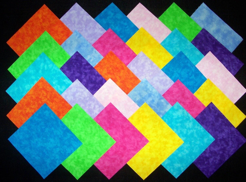 30 5 Inch BRIGHT BLENDER Quilt Block Fabric Squares Stk42B