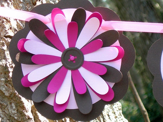 Pink and Brown Daisies Paper Banner Baby Girl READY TO SHIP