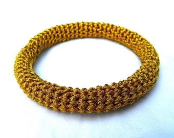 24k Gold Color Bangle Bracelet Crocheted