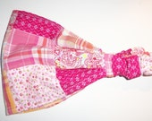 Pink Madras Plaid Patchwork Head Scarf Babushka