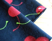 Red cherries on black napkins, set of 4