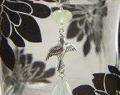 Custom Listing for Sandy - Bird Soaring w/ Aquamarine and Prehnite on sterling Silver Chain