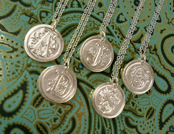 Personalized Vintage Wax Seal Initial in .999 Pure Silver Necklace Custom A B C D E F G H I J K L M N O P Q R S T U V W X Y Z
