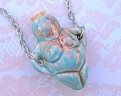 VENUS Goddess of FertilityNecklace- Hollow Ceramic Bottle for Aromatherapy Fragrance Perfume Oils