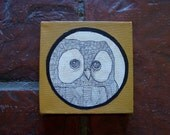 Owl original illustration. ink pen on coffee-stained canvas, dear darlington designs by Steph Davies