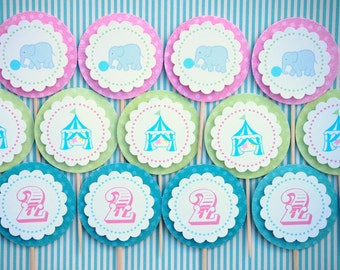 The CIRCUS CARNIVAL Collection - Custom Cupcake Toppers from Mary Had a Little Party