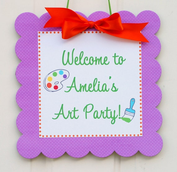 The ART Party - Coordinate Door Sign from Mary Had a Little Party