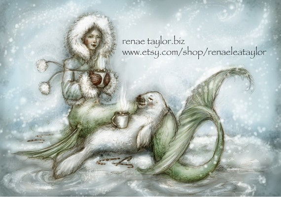 Cocoa Mermaid, Greeting Card by Renae Taylor