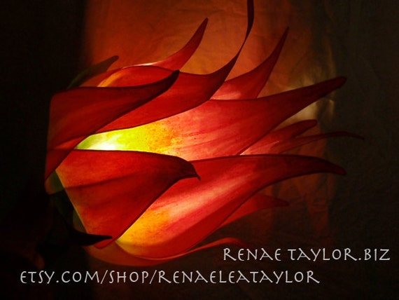 Red and Yellow Lily Luminaire (Lamp) By Renae Taylor