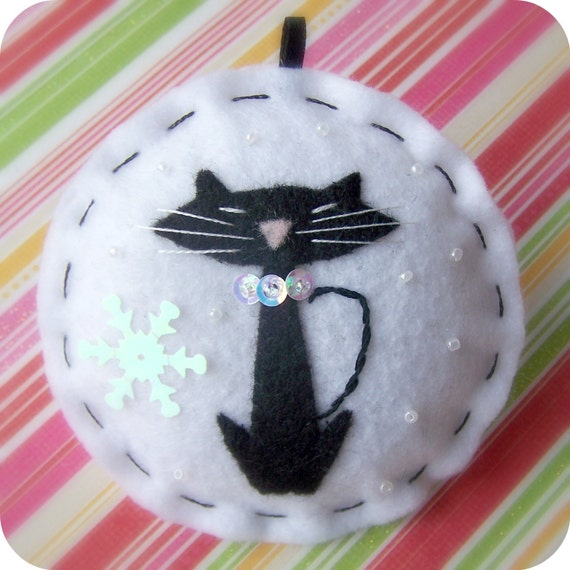 Groovy Christmas Kitty - Felt Ornament in Black and White