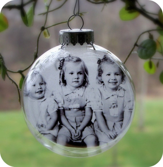 Glass Ball Photo Ornament - Set of 4 Personalized Christmas Ornaments