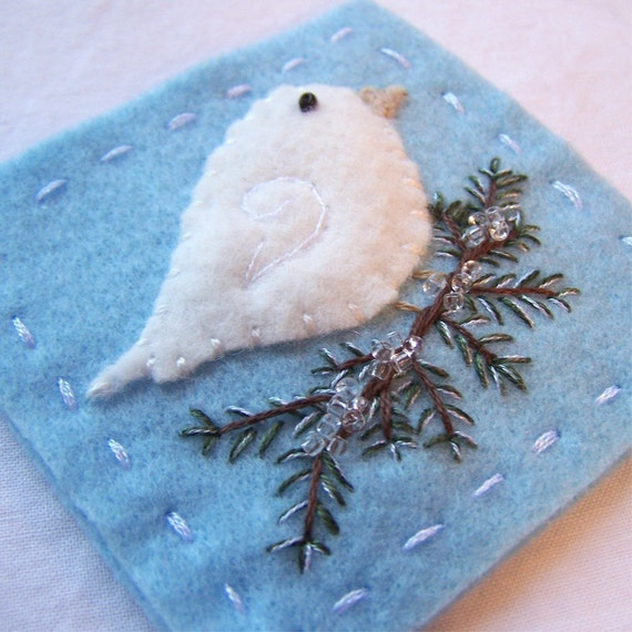 Snow Bird Needle Square - Holiday Sparkle in Icy Blue - 3 by 3