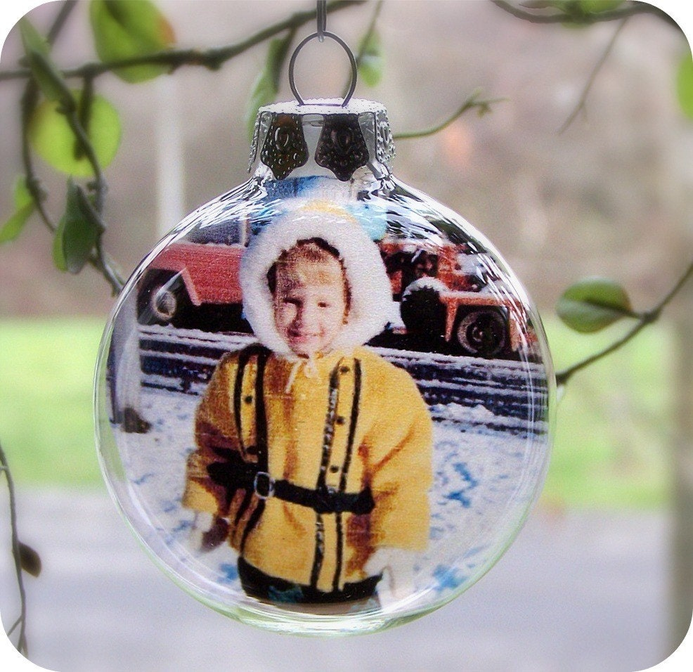 Glass ball photo ornament one piece personalized christmas for Personalized christmas photo ornaments