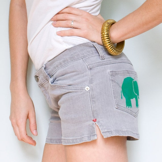 Shorts - Grey Denim with Green Elephant Print and Red Star Button
