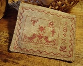 Primitive Cross Stitch Pattern Two Birds Needlebook Sampler