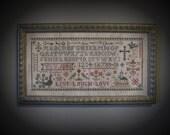 Primitive Cross Stitch Sampler Pattern Live Laugh Love