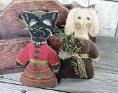 Primitive Needle Punch Dolly Pattern Cat and Bunny PDF epattern