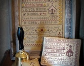 Victor Minor School House Primitive Cross Stitch Sampler Pattern