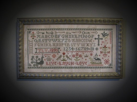 Primitive Cross Stitch Sampler Pattern Live Laugh Love