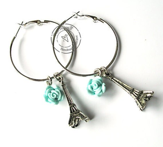 Earrings (ring) with polymer rose and Eiffel tower hip and trendy
