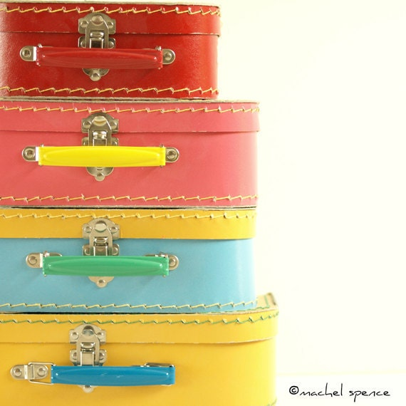 READ THIS FIRST These Are Photographs of  Vintage Suitcases Vintage Vintage Stacked Suitcases Toys Pastel Vintage Child Pink Blue