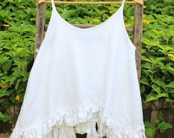 White Linen Camisole Made to Order
