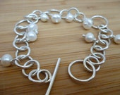 Charm Bracelet with White Fresh Water Pearls