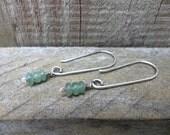 Green Aventurine Gemstone Dangle Drop Silver Earrings