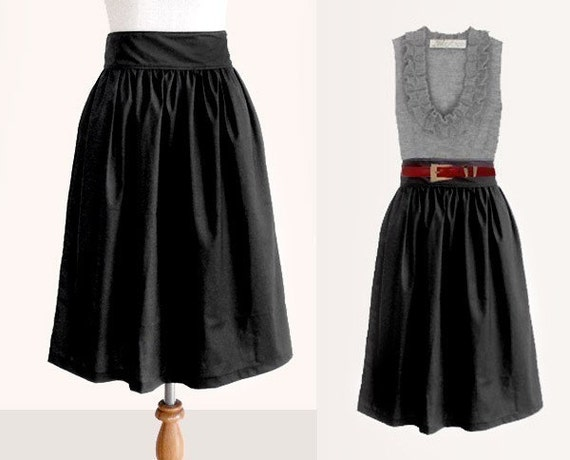 Custom black cotton skirt with side pockets 22 inches long