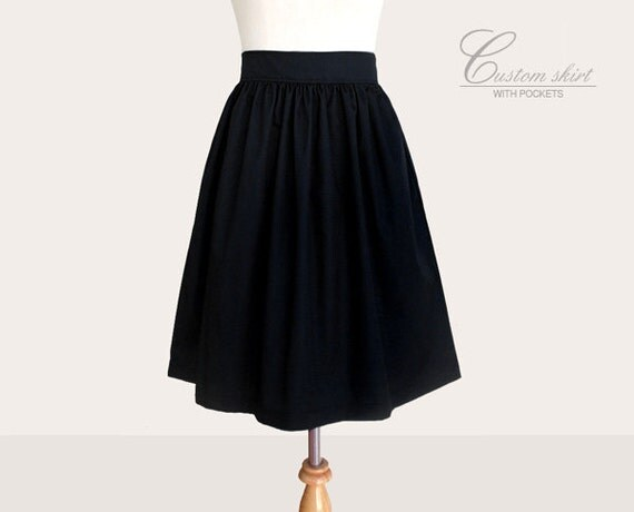 NEW Custom fully lined skirt with side pockets in black and many colors