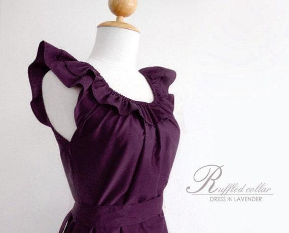 Custom fully lined ruffled collar dress w/ sash, pockets in PLUM