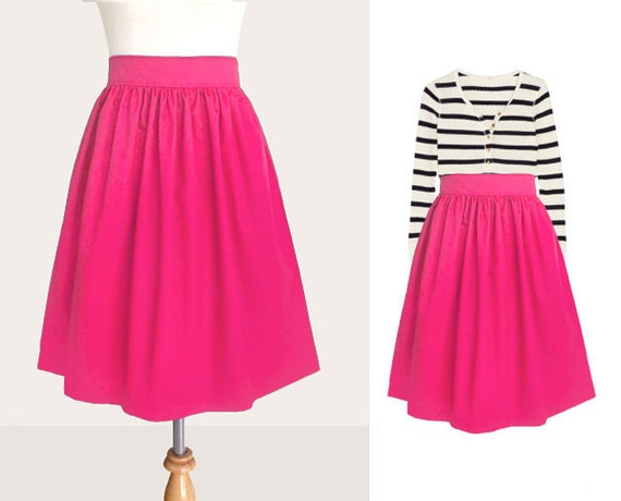 Custom skirt with side pockets in hot pink and many colors