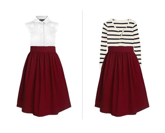 Custom cotton skirt WITHOUT pockets in maroon  and many colors
