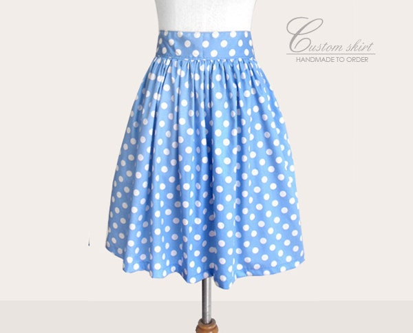 custom baby blue and white polka dot skirt without pockets