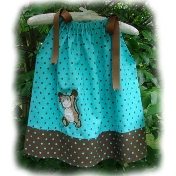 FREE Monogram...Teal, Brown Monkey Applique Pillowcase Dress, Infant, Toddler sizes.