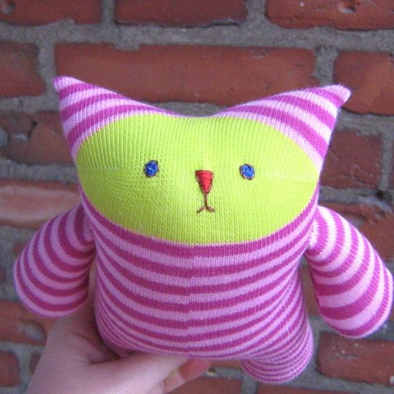 Sock Kitty Cuddlet - Pink Stripes