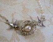 Double My Love Bird Nest Necklace One Pearl Egg Custom Color