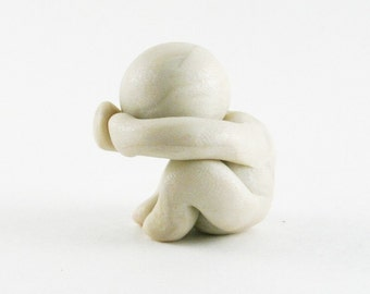On the Edge of Healing - grief sculpture - human figure in polymer clay - hand sculpted and made to order