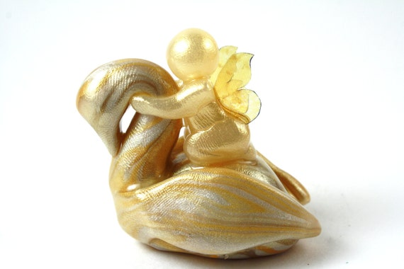 Safe Passage Swan - ivory and gold swan and butterfly baby - made to order