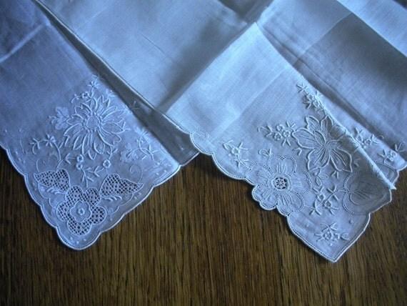 Set of 2 Dainty White on White Vintage Hankies