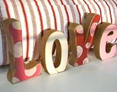Love Valentines Letters, decoration, XOXO, hugs, kisses, pink, red, heart, polka dot, stripes, custom, name