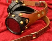 Brown Leather Harnessed Steampunk Goggles