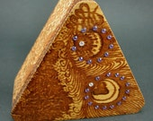 Henna Collector Box -Triangle Peacock Feather Design w\/ Tanzanite Swarovski Crystals
