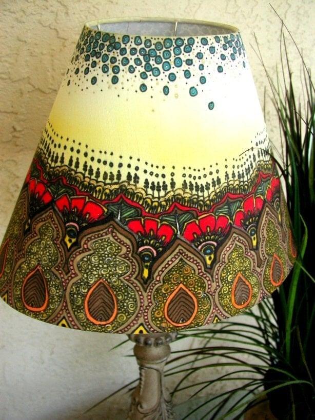 royal henna hand painted lamp shade. Black Bedroom Furniture Sets. Home Design Ideas