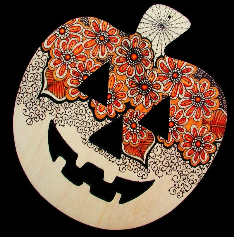 Pumpkin Halloween Decoration Henna Designs On Wood By Babdoyan